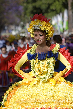 Woman in Floral Costume at the Flower Festival Parade, Funchal, Madeira, Portugal
