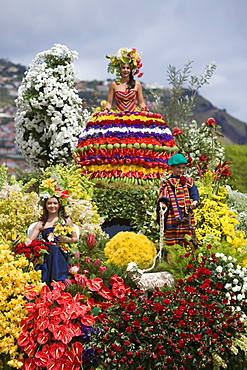 Floral float at the Madeira Flower Festival Parade, Funchal, Madeira, Portugal