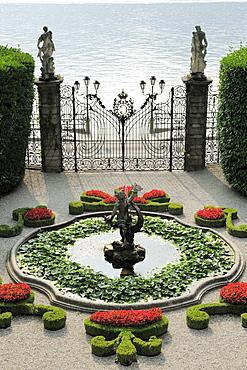 Fountain and gate, Villa Carlotta, Tremezzo, Lake Como, Lombardy, Italy