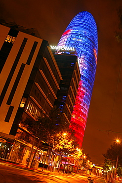 Torre Agbar at night, Barcelona, Catalonia, Spain