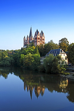 View over Lahn river to cathedral, Limburg, Hesse, Germany