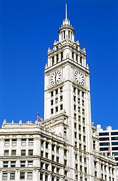 Top of Wrigley Building in Downtown, Chicago, Illinois, USA