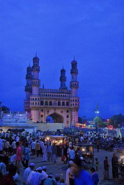 Muslims at nightmarket near Charminar at ramadan, Hyderabad, Andhra Pradesh, India, Asia