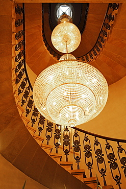 Staircase with luster at Palac Bonerowski hotel, Krakow, Poland, Europe