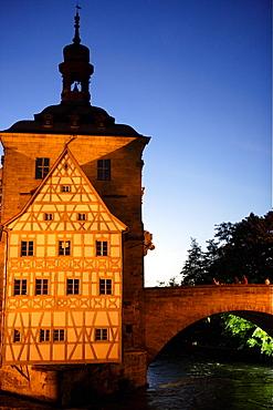 Old city hall and bridge over the Regnitz river, Bamberg, Upper Franconia, Bavaria, Germany