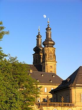 Banz Monastery under blue sky, Main Valley, Franconia, Bavaria, Germany