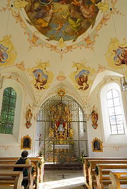 chapell Lorettokapelle, pilgrimage chapell, interior view, Oberstdorf, Allgaeu range, Allgaeu, Swabia, Bavaria, Germany