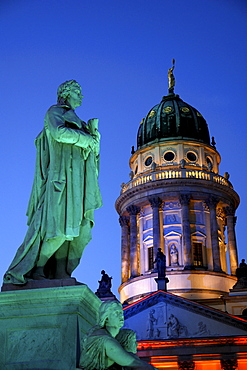 French Cathedral and Schiller statue at night, Gendarmenmarkt, Berlin, Germany