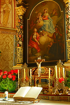 Altar in church St. Barbara, valley Gadertal, Dolomites, South Tyrol, Italy