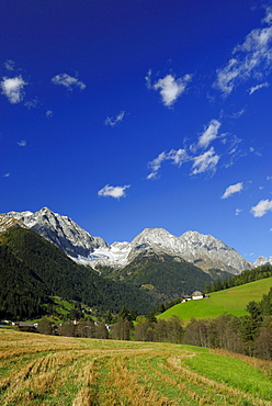 Valley Antholzer Tal with Riesenfernergruppe range, South Tyrol, Italy