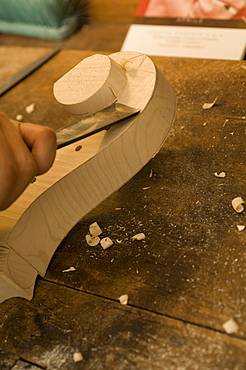 Man making a violin, Workshop of Bruce Carlson, Violin Maker, Cremona, Lombardy, Italy