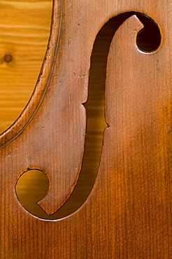 Close up of a violin body, Workshop of Bruce Carlson, Violin Maker, Cremona, Lombardy, Italy