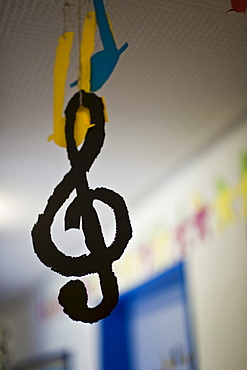 Hand-made music notes and treble clef, G-clef hung up in a school, Music lesson, School, Decoration