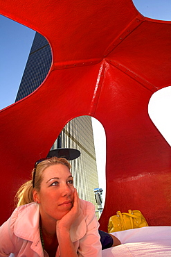 Woman relaxing at the Standard Hotel Rooftop Bar, Downtown Los Angeles, California, USA, United Sates of America