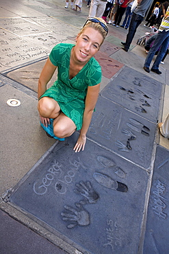 George Clooney Handprint and footprints, Graumans Chinese Theater, Hollywood, Los Angeles, California, USA