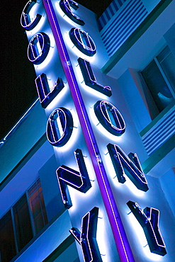 Neon sign at the Colony Hotel at night, Ocean Drive, South Beach, Miami Beach, Florida, USA