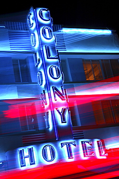 The neon sign of the Colony Hotel at night, South Beach, Miami Beach, Florida, USA
