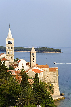 Steeples in the Old Town on Rab Island, Istria, Croatia, Europe