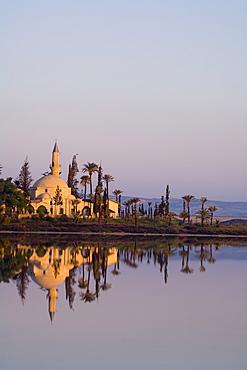 Hala Sultan Tekke mosque at Larnaka Salt Lake, Larnaka, South Cyprus, Cyprus
