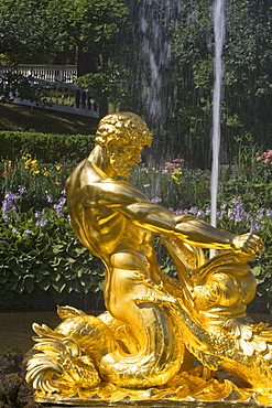 Samson fountain in the park of Peterhof Palace, St. Petersburg, Russia