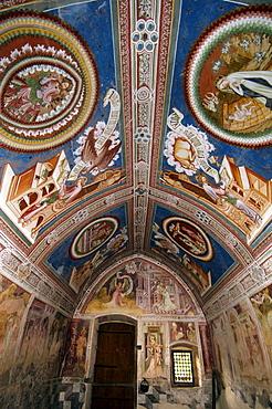 Frescos in St Helenas chapel, Deutschnofen, Eggental valley, South Tyrol, Italy