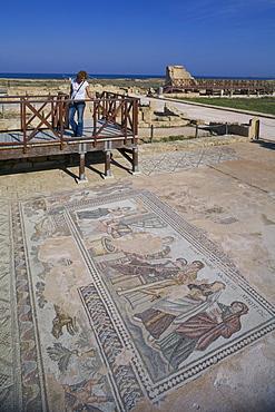 Achilles mosaic in the house of Theseus, Theseus villa, Archaeological Park, Paphos, South Cyprus, Cyprus
