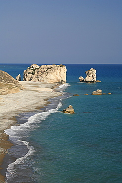 Petra tou Romiou, Rock of Aphrodite, Aphrodite's birthplace, Symbol, the Rock from which Aphrodite mythically arose from the sea, Limassol, South Cyprus, Cyprus