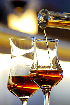 Two glasses of liqueur, Hotel Bad Schoergau, Bad Schoergau, Valley Sarntal, South Tyrol, Italy, Europe