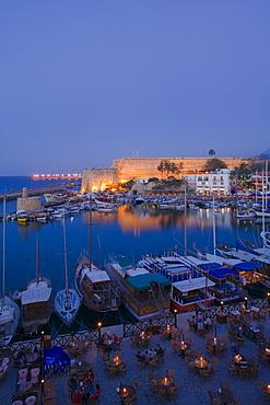 Kyrenia harbour and Kyrenia castle at night, Kyrenia, Girne, North Cyprus, Cyprus