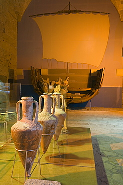 Four amphoras in the Archaeological museum, Shipwreck Museum, Kyrenia Castle, Kyrenia, Girne, North Cyprus, Cyprus