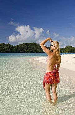 Tourist at Long Beach of Rock Islands, Micronesia, Palau