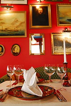 Set table in the russian Nevskij restaurant at St. Petersbourg Hotel, Tallinn, Estonia