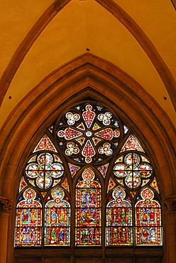 Colored window pane, Regensburg cathedral, Regensburg, Upper Palatinate, Bavaria, Germany
