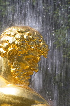 Close up of a statues head, Fountain in the park of Peterhof Palace, St. Petersburg, Russia