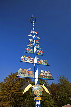 Maypole on the Viktualienmarkt in Munich, Germany