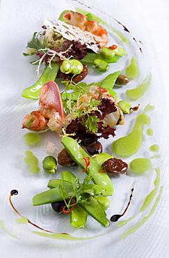 Lobster salad with sugar snaps in restaurant Tilia, Chef Chris Oberhammer, Vintl South Tyrol, Italy