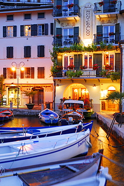 Boats in marina in the evening, Limone sul Garda, Lombardy, Italy