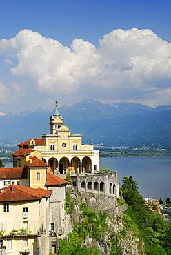 Pilgrimage church Santa Maria Assunta, Madonna del Sasso, above lake Maggiore, with Monte Garzirola in the background, Locarno, Lago Maggiore, Ticino, Switzerland