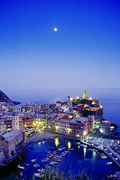 Full moon, view to Vernazza in the evening, Cinque Terre, Liguria, Italian Riviera, Italy, Europe