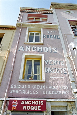 House facade with anchovy caption, Collioure, Languedoc-Roussillon, South France, France