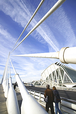Bridge and buildings at Ciudad de las Artes y las Ciencias, City of Arts and Sciences, designed by Santiago Calatrava, Valencia, Spain, Europe