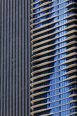 Facade of the Aqua Building by Studio Gang Architects, Chicago, Illinois, USA