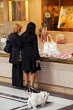 Two women shopping, Shopping in Via Roma, Piedmont, Italy