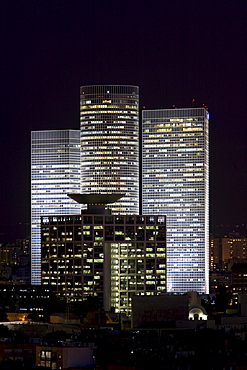 Azrieli Center Towers and Israel Defense Ministry at night, Tel Aviv, Israel, Middle East