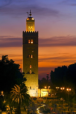 Koutoubia Mosque in the evening light, Marrakech, Morocco, Africa