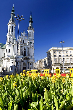 Church of our saviour under blue sky, Square Zbawiciela, Warsaw, Poland, Europe