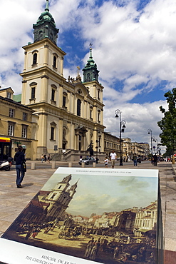 Church of the Holy Cross restored after World War II after painted depictions, Warsaw, Poland, Europe