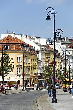 Krakowskie Przedmiescie Street in the sunlight, Warsaw, Poland, Europe