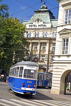 Tram in front of Hotel Royal on Stradomska Street, Krakow, Poland, Europe