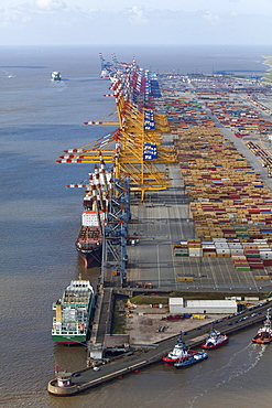 Aerial view of the container port, Containers, loading cranes and ships along the quai, Bremerhaven, northern Germany
